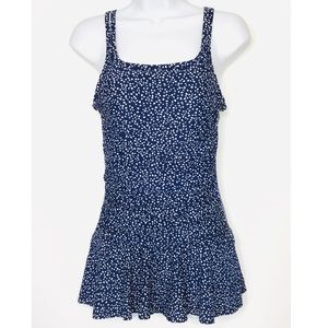 Alisha Levine Blue & White Shirred Swimdress Sz10